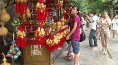 Chinese souvenir stall, tourists, Chengdu Stock Footage