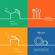 Cookware Set kettle, pot, spoon, fork, knife, cup, saucer - stock illustration