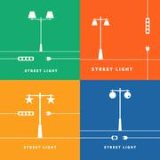 Set 4 vector street lights and socket icon - stock illustration