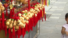 Souvenirs made from gourds, China - stock footage