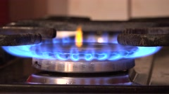 4K Gas burn home cooker fossil fuel resource natural petrol economy conserve day - stock footage