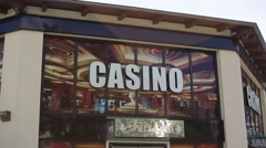Cheap casino entrance sign, Germany - stock footage