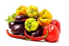 Sweet pepper, aubergine, chilli pepper isolated on white Stock Photos