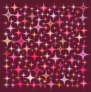Pink orange star collection over a deep red backdrop Stock Illustration