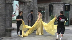 Chinese bride, yellow wedding dress, China Stock Footage