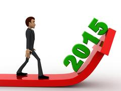3d man with growth of 2015 represent arrow concept - stock illustration