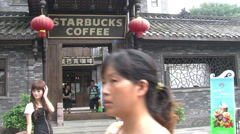 Chinese Starbucks Coffee shop, Chengdu Stock Footage