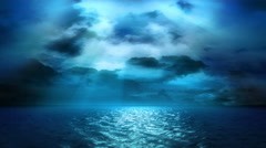 Ocean Moonlight and Clouds (Loop) - stock footage