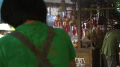 Chinese tourist alley in rain, Chengdu Stock Footage