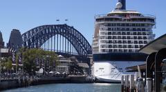 Sydney Harbor Bridge and Cruise Ship - stock photo