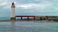 Skye Bridge Lighthouse establishing shot Stock Footage