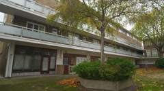 4K Exterior view of London block of flats built around a central courtyard Stock Footage