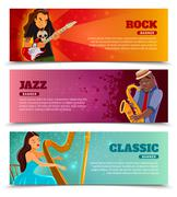 Stock Illustration of Music performance flat banners set