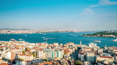 Istanbul - Sea traffic in Bosphorus strait and Golden horn Stock Footage