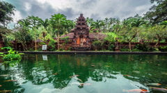 4K Timelapse. Fish pond on the background of the temple Stock Footage