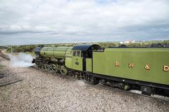 The Green Goddess steam engine at Dungeness Station Kent UK - stock photo