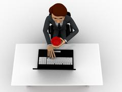 3d man working in office and drinking coffee concept - stock illustration