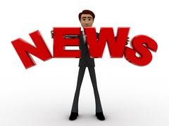 3d man with news text in hand concept - stock illustration