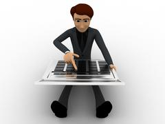 Stock Illustration of 3d man working and calculate on calculator concept