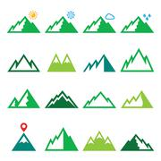 Mountains, nature vector green icons set - stock illustration