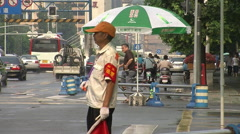 Chinese traffic monitor waving flag, China Stock Footage