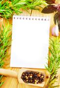 note and aroma spice - stock photo