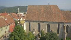The Monastery Church seen from above, Sighisoara Stock Footage