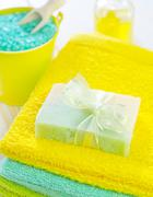 aroma salt and soap - stock photo