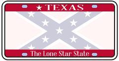 Texas Confederate Flag Plate - stock illustration