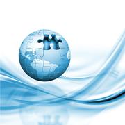 Jigsaw globe - stock photo