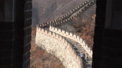 Great Wall of China, people, mountains Stock Footage