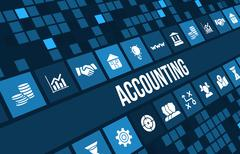 Accounting and accountancy concept image with business icons and copyspace. Stock Illustration