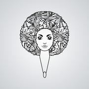 Portrait of a woman with luxuriant hair in the style of an African. Vector. The - stock illustration
