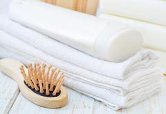 Stock Photo of towels and shampoo