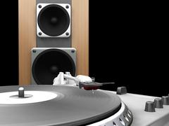 Turntable and speaker - stock photo