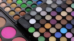 Professional makeup eyeshadows palette Stock Footage