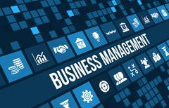 Business management concept images with big title and icons . - stock illustration