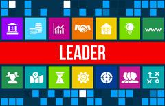 Leader concept image with business icons and copyspace. Stock Illustration
