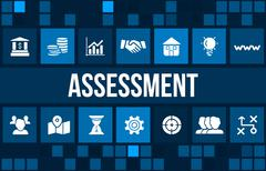 Stock Illustration of Assessment concept image with business icons and copyspace.