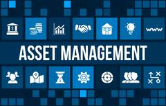 Asset management concept image with business icons and copyspace. Stock Illustration