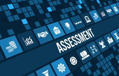 Assessment concept image with business icons and copyspace. Stock Illustration