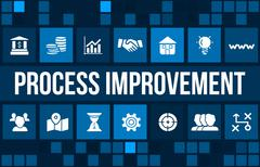 Stock Illustration of process improvement concept image with business icons and copyspace.