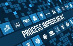 Process improvement concept image with business icons and copyspace. Stock Illustration