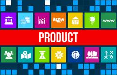 Stock Illustration of Product concept image with business icons and copyspace.