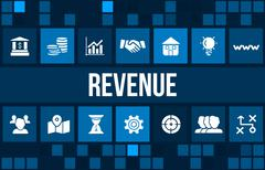Revenue concept image with business icons and copyspace. Stock Illustration
