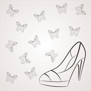 Vector monochrome background with filigree butterflies of women's shoes with - stock illustration