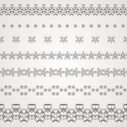Stock Illustration of Set of vector filigree star, flowers, borders, frames and brushes of various