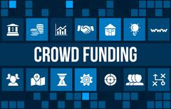 Crowdfunding concept image with business icons and copyspace. Stock Illustration