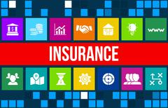 Insurance concept image with business icons and copyspace. Stock Illustration