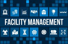 Facility management concept image with business icons and copyspace. - stock illustration